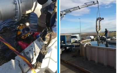 Trabajos de reparación en reactor biológico Edar La Sendilla