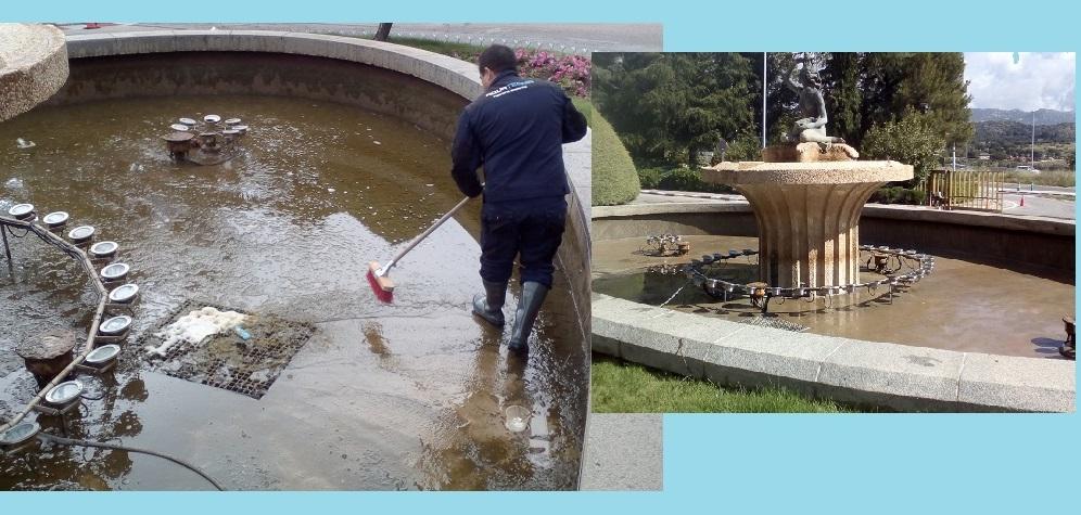 Limpieza de fuentes ornamentales